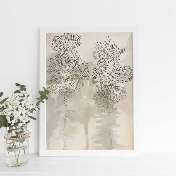 Misty Forest Oak Tree Woodland Watercolor Wall Art Print or Canvas - Jetty Home