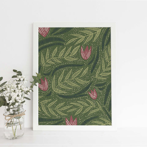 Green, Pink and Blue Modern Floral Wildflower Illustration Wall Art Print or Canvas - Jetty Home