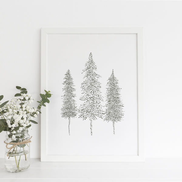Modern Pine Tree Trio Drawing Wall Art Print or Canvas - Jetty Home
