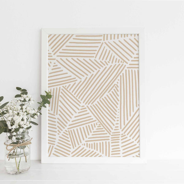 Neutral Beige Abstract Modern Line Mid Century Wall Art Print or Canvas - Jetty Home