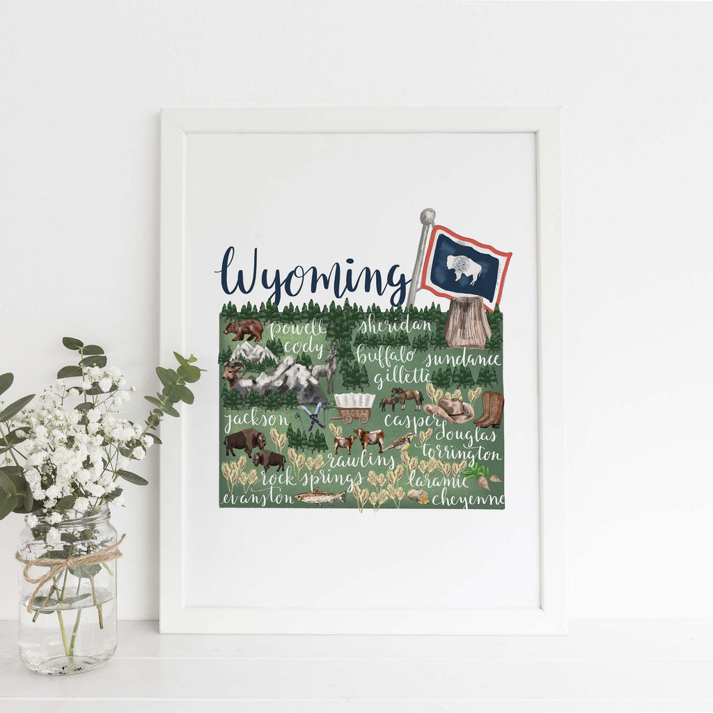 Wyoming State Map Art Print - Jetty Home