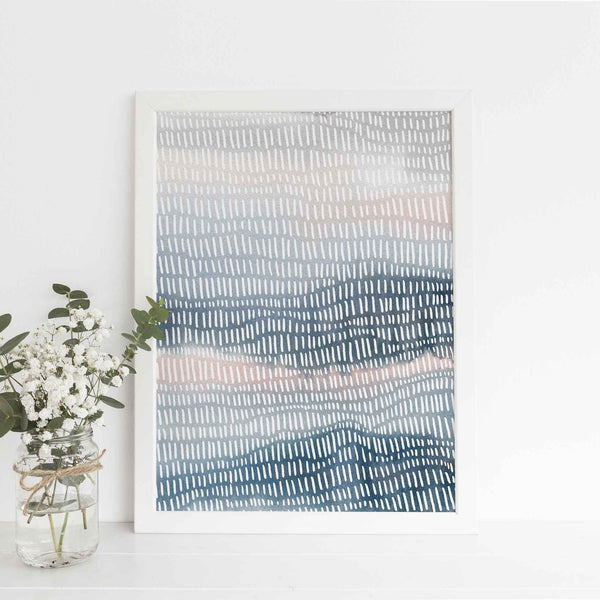 Modern Beach Ocean Watercolor Painting Blue and Pink Wall Art Print or Canvas - Jetty Home