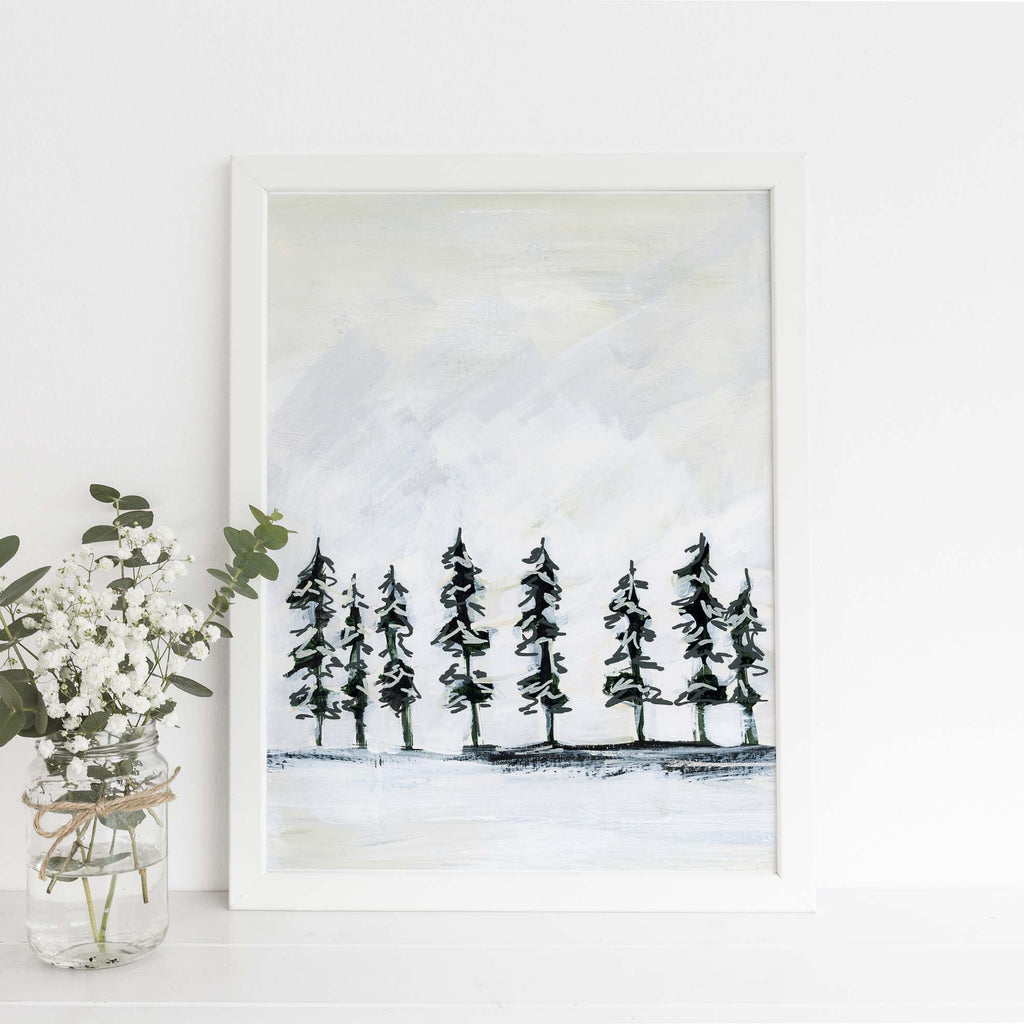 Modern Pine Tree Line Simple Painting Wall Art Print or Canvas - Jetty Home