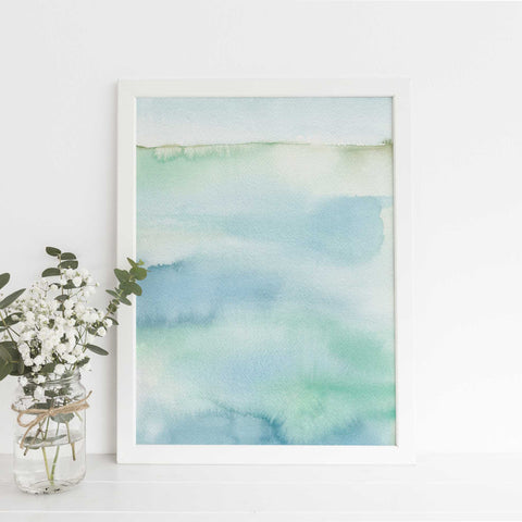 Modern Beach Seascape Watercolor Blue Green Painting Wall Art Print - Jetty Home