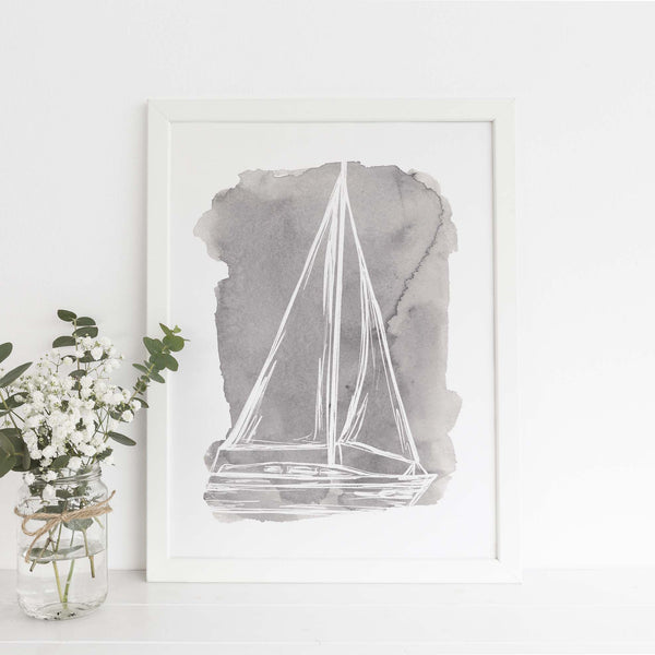 Watercolor Sailboat Illustration Nautical Wall Art Print or Canvas - Jetty Home