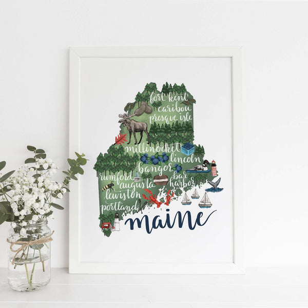 Maine State Map Art Print - Jetty Home
