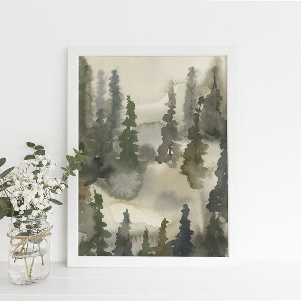 Misty Tree Line Fog Landscape Watercolor Painting Wall Art Print or Canvas - Jetty Home