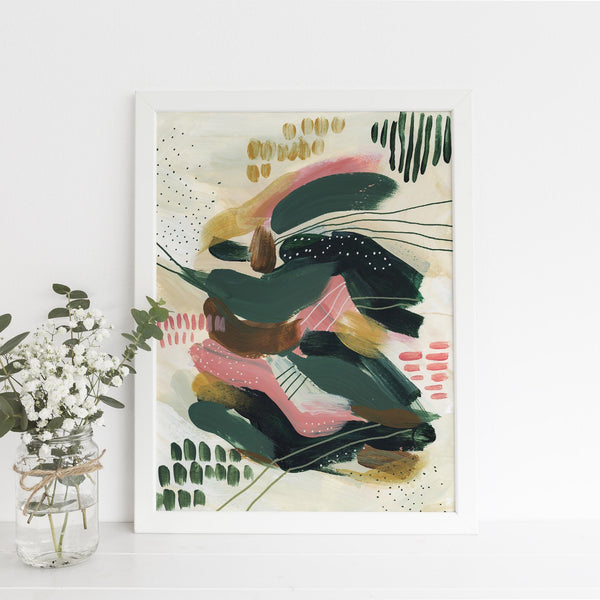 Bold Contemporary Abstract Painting Green, Pink and Gold Wall Art Print or Canvas - Jetty Home