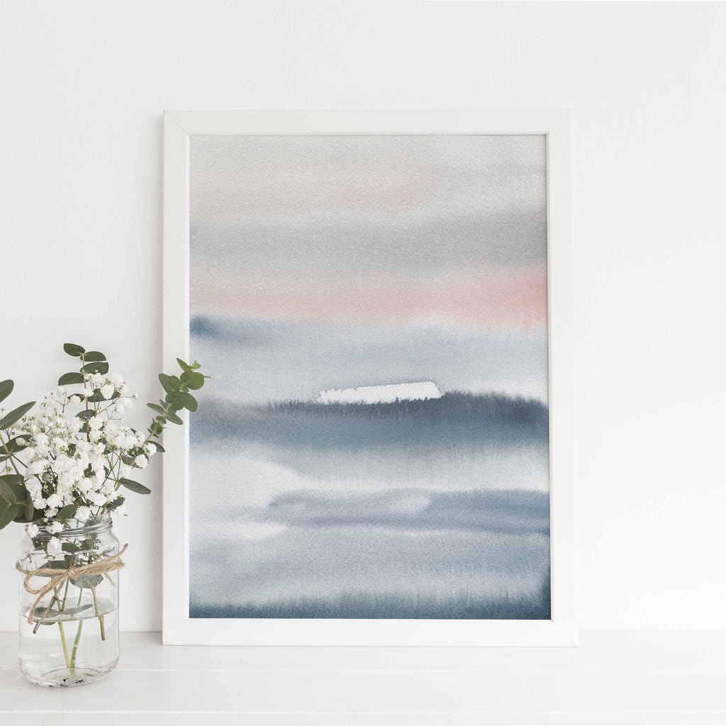 Modern Blue Gray and Pink Flowy Watercolor Painting Wall Art Print or Canvas - Jetty Home