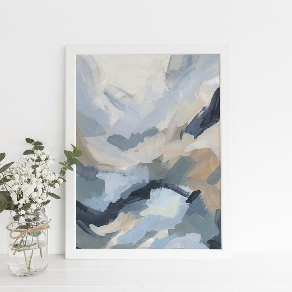 Minimalist Abstract Watercolor Navy and Copper Wall Art Digital Print - Jetty Home