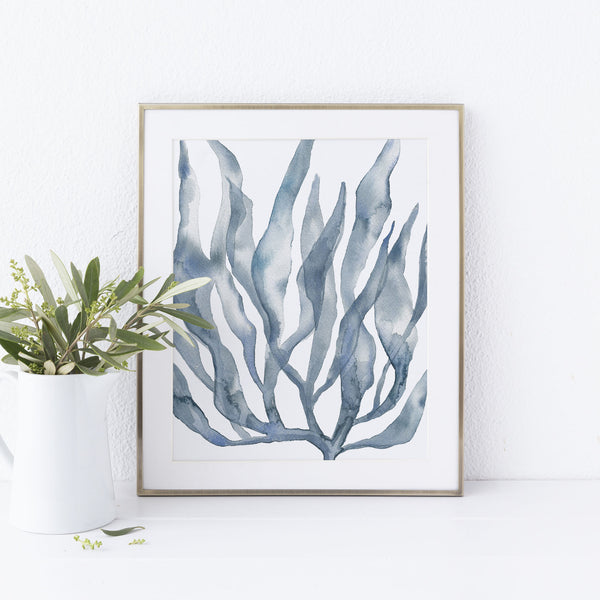 Blue Seaweed Painting Art Print or Canvas - Jetty Home