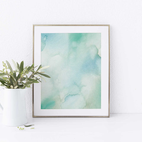Blue Watercolor Beach House Painting Wall Art Print - Jetty Home