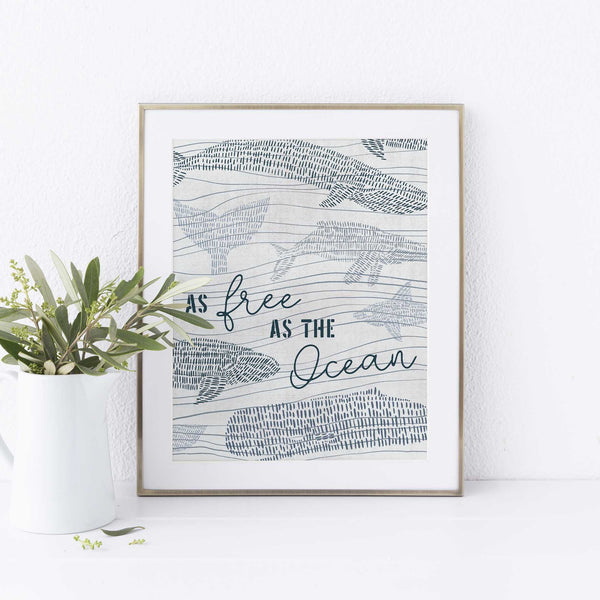 As Free As the Ocean Nautical Watercolor Gray Wall Art Print or Canvas - Jetty Home