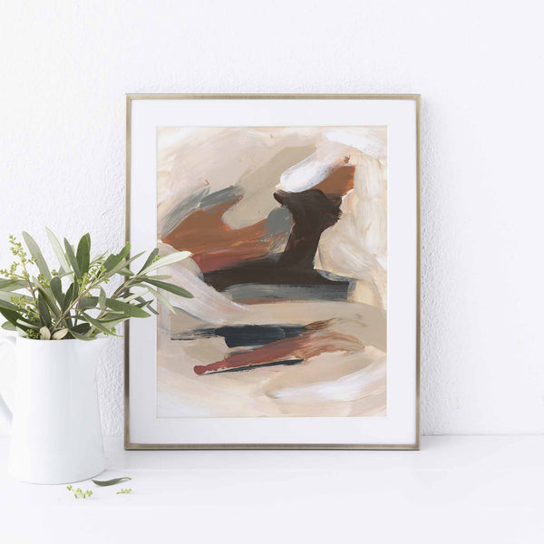 Earth Tones Autumn Abstract Neutral Warm Painting Wall Art Print or Canvas - Jetty Home