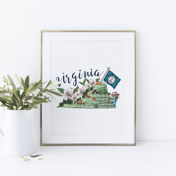 Virginia State Map Art Print - Jetty Home