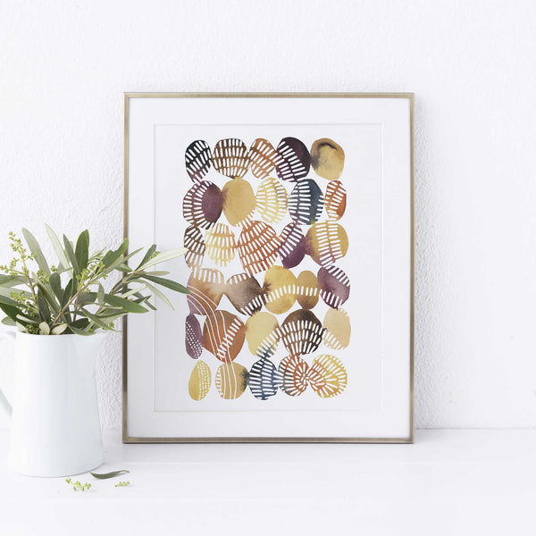 Circle Watercolor Warm Tones Painting Wall Art Print or Canvas - Jetty Home