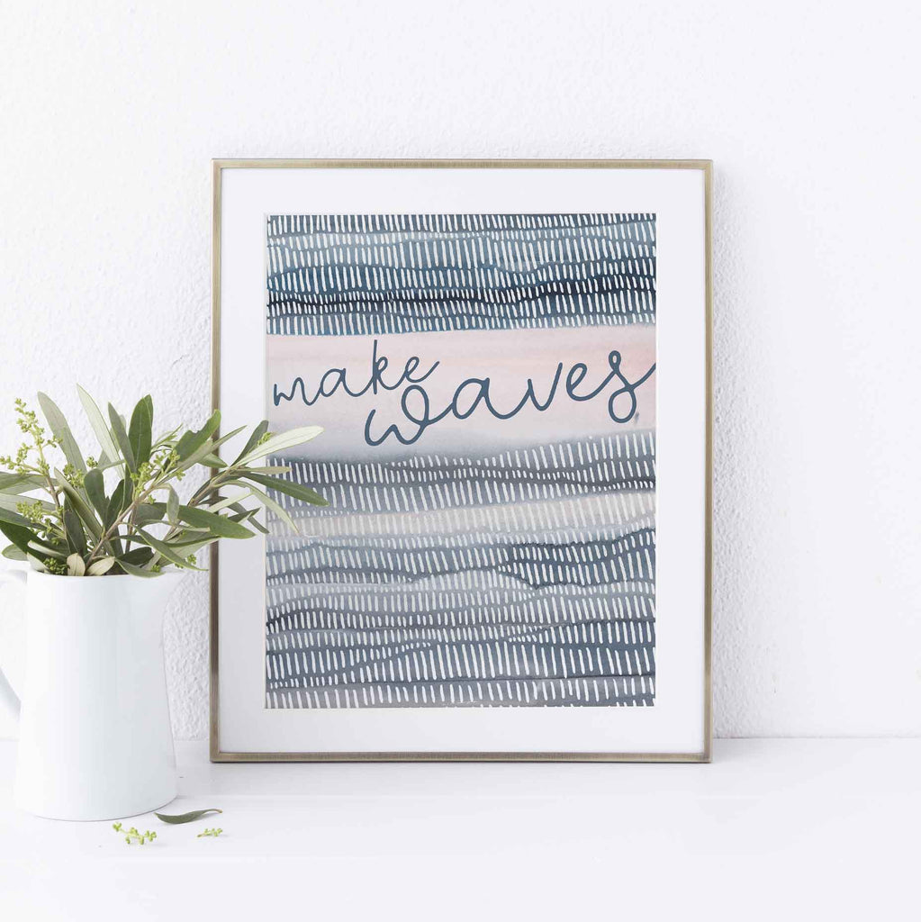Make Waves Modern Beach Quote Wall Art Print or Canvas - Jetty Home