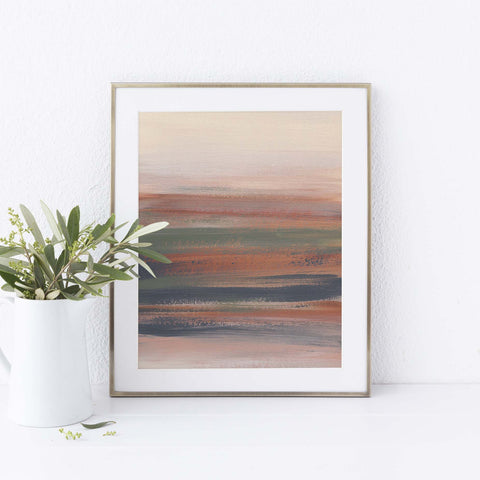 Modern Abstract Desert Landscape Painting Neutral Beige Wall Art Print - Jetty Home