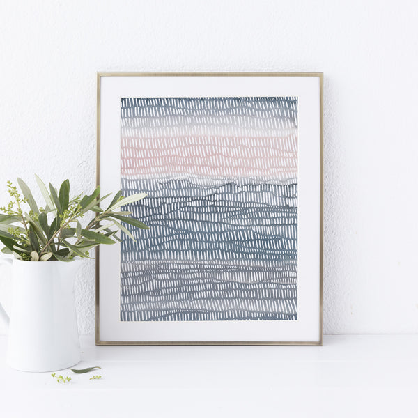 Watercolor Painting Line Illustration Modern Coastal Wall Art Print or Canvas - Jetty Home
