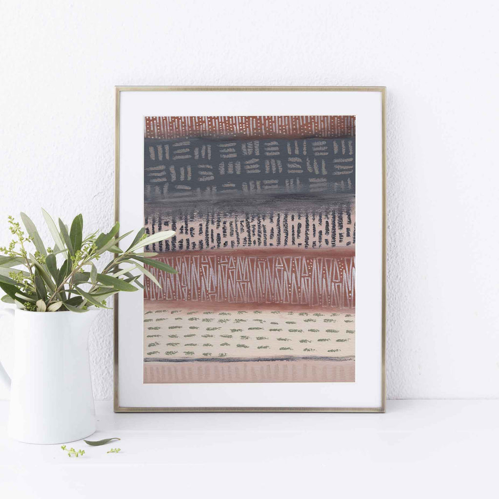 Desert Neutral Tribal Pattern Modern Home Decor Wall Art Print or Canvas - Jetty Home
