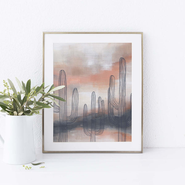 Modern Saguaro Cactus Navy + Blush Painting Wall Art Print or Canvas - Jetty Home