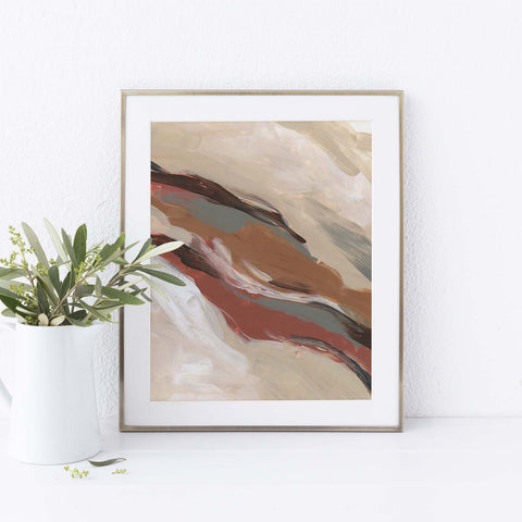 Earth Tone Abstract Painting Modern Statement Wall Art Print or Canvas - Jetty Home