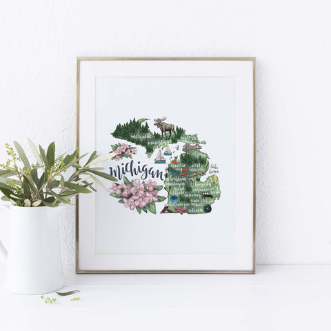 Michigan State Map Wall Art Print - Jetty Home