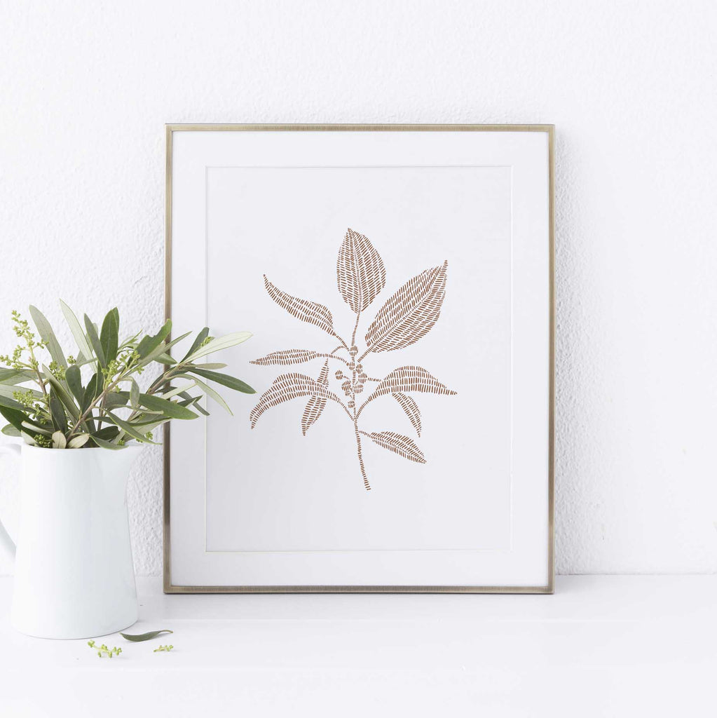 Modern Botanical Illustration Buckthorn Rust and White Wall Art Print or Canvas - Jetty Home