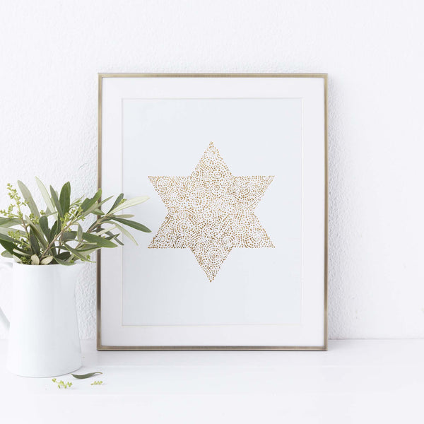 Modern Gold Star of David Hanukkah Wall Art Print or Canvas - Jetty Home