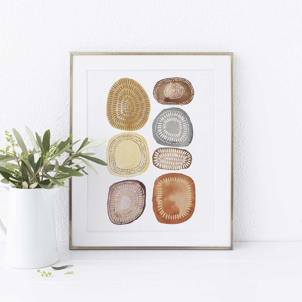Warm Circle Modern Minimalist Watercolor Wall Art Print or Canvas - Jetty Home