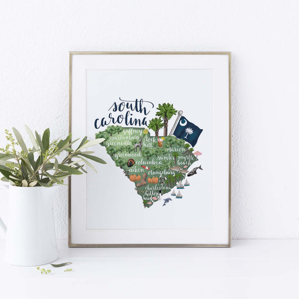 South Carolina State Map Art Print - Jetty Home