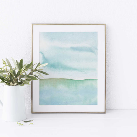 Modern Seascape Watercolor Painting Wall Art Print - Jetty Home