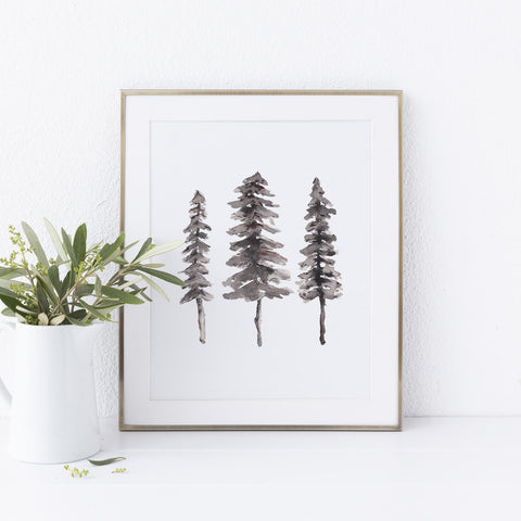 Nordic Pine Tree Ink Painting Wall Art Print - Jetty Home
