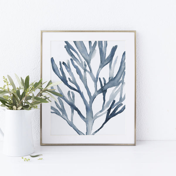 Blue Seaweed Coral Watercolor Art Print or Canvas - Jetty Home