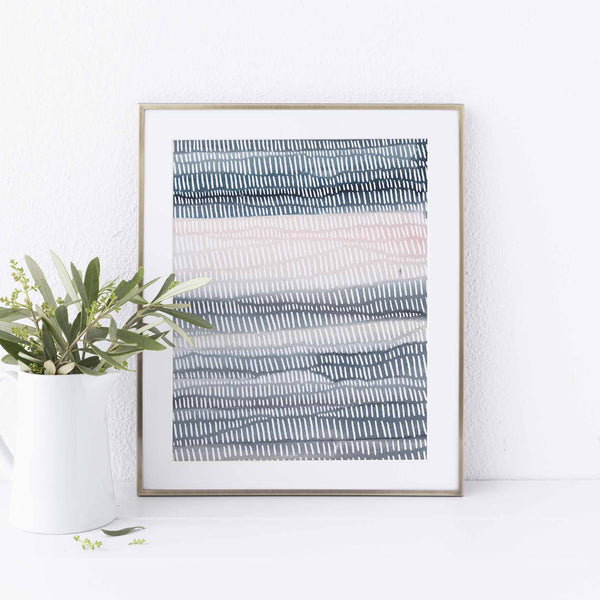 Modern Beach House Abstract Watercolor and Line Wall Art Print or Canvas - Jetty Home