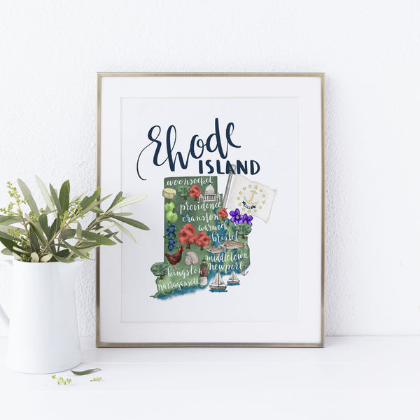 Rhode Island State Map Wall Art Print - Jetty Home
