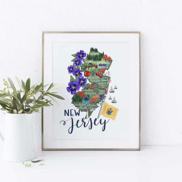 New Jersey State Map Art Print - Jetty Home