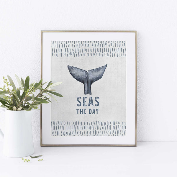 Seas the Day Whale Tail Modern Nautical Blue and Gray Wall Art Print or Canvas - Jetty Home
