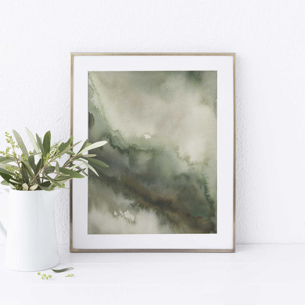 Forest Inspired Green Abstract Watercolor Painting Wall Art Print or Canvas - Jetty Home