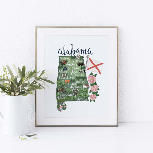 Alabama State Map Art Print - Jetty Home