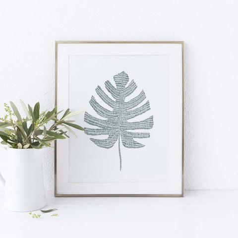 Monstera Tropical Botanical Palm Leaf Wall Art Print or Canvas - Jetty Home