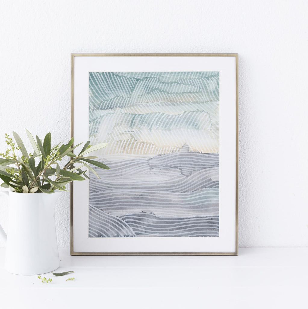 Beach Seascape Ocean Abstract Trendy Modern Wall Art Print or Canvas - Jetty Home