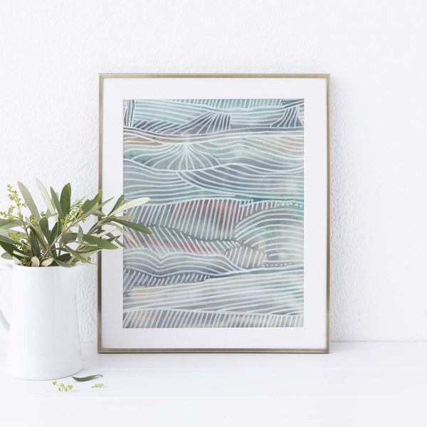 Modern Abstract Coastal Seascape Surfer Wall Art Print - Jetty Home