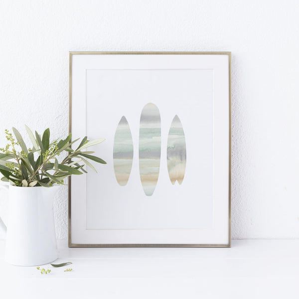 Modern Surfboard Coastal Cool Watercolor Wall Art Print or Canvas - Jetty Home