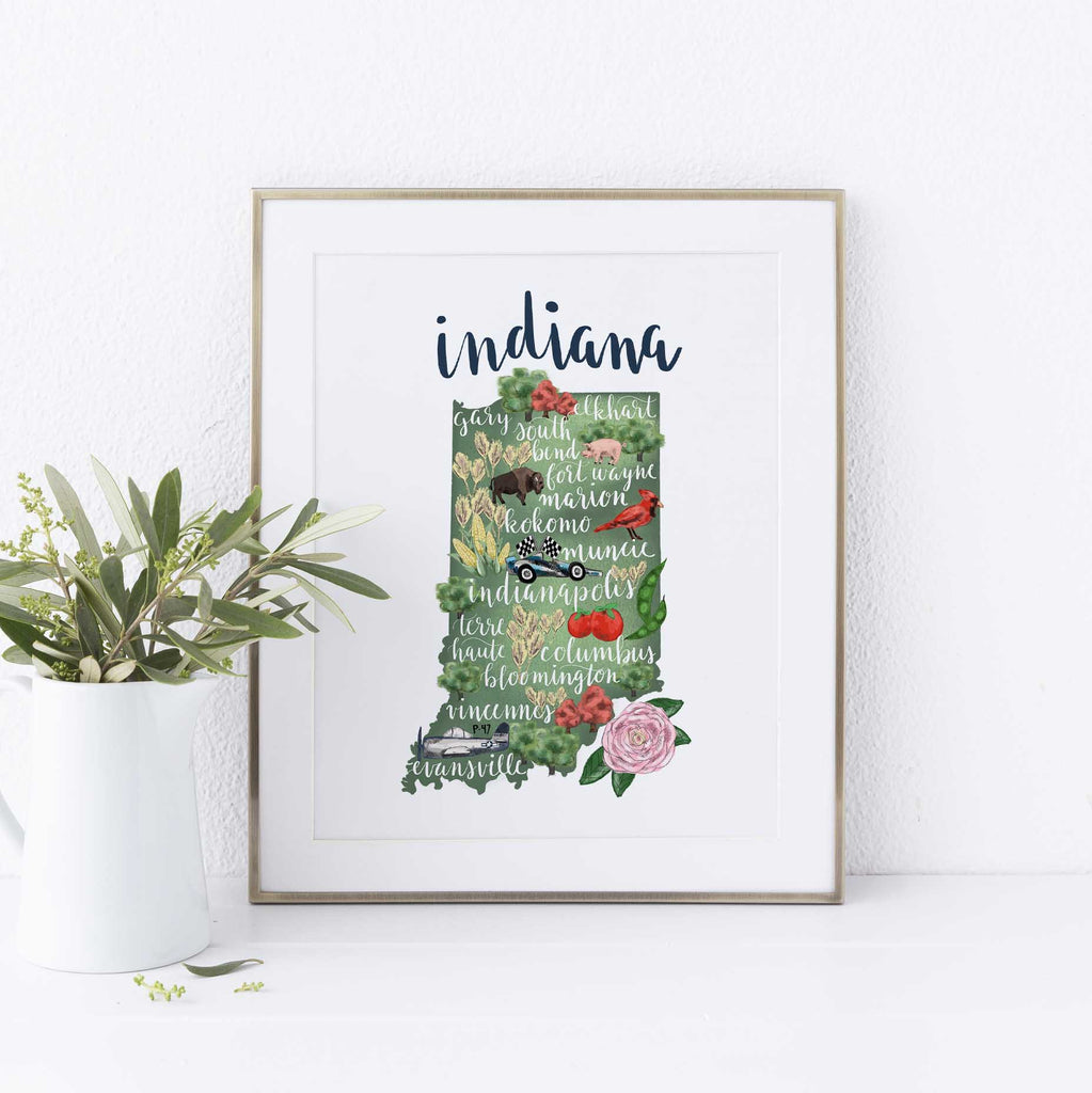 Indiana State Map Art Print – Jetty Home