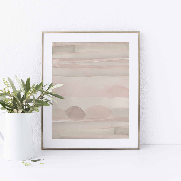 Simple Watercolor Painting Earth Tones Wall Art Print or Canvas - Jetty Home