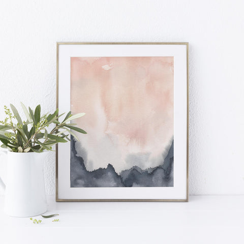 Contemporary Abstract Blush and Blue Art Print or Canvas - Jetty Home
