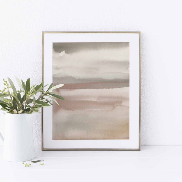 Calming Minimalist Earth Tones Watercolor Painting Wall Art Print or Canvas - Jetty Home