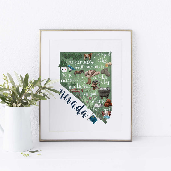 Nevada State Map Art Print - Jetty Home