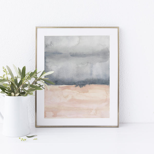 Abstract Watercolor Painting Blush and Slate Art Print or Canvas - Jetty Home